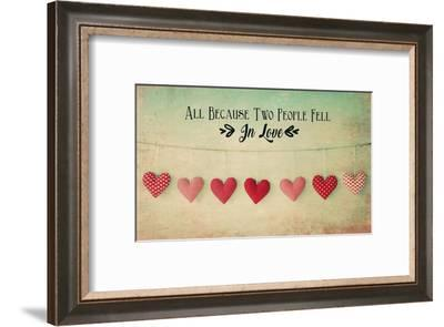 Two People Fell in Love Cotton Hearts-Quote Master-Framed Art Print