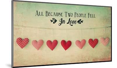 Two People Fell in Love Cotton Hearts-Quote Master-Mounted Art Print