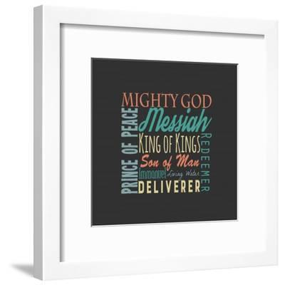 Names of Jesus Square Green and Orange Text - Gray-Inspire Me-Framed Art Print