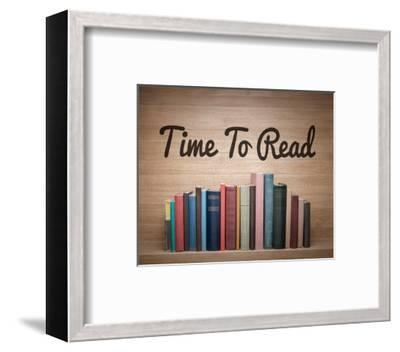 Time To Read - Wood Background Color-Color Me Happy-Framed Art Print