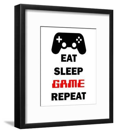 Eat Sleep Game Repeat - White-Color Me Happy-Framed Art Print