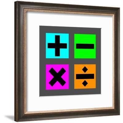 Math Symbols Square - Colorful Boxes-Color Me Happy-Framed Art Print