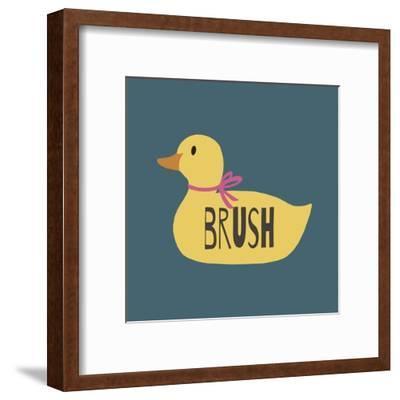 Duck Family Girl Brush-Color Me Happy-Framed Art Print