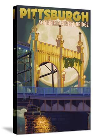Pittsburgh - Smithfield Street Bridge-Lantern Press-Stretched Canvas Print