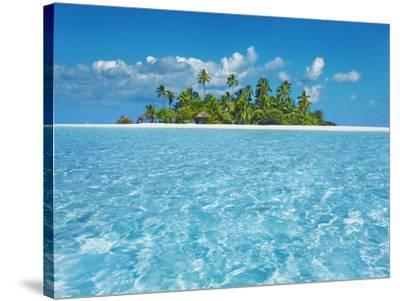 Tropical lagoon with palm island, Maldives-Frank Krahmer-Stretched Canvas Print