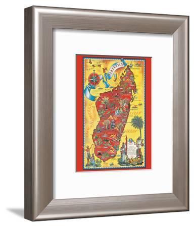 Madagascar - Map - Africa Island-Maurice Tranchant-Framed Art Print