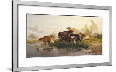 Cows in the Water Meadows-Thomas Cooper-Framed Giclee Print