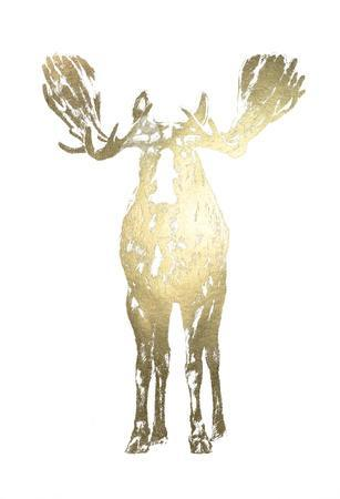 Gold Foil Standing Moose-Ethan Harper-Framed Art Print
