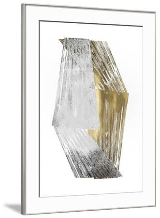 Silver & Gold Foil Stripes-Jennifer Goldberger-Framed Art Print