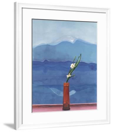 Mount Fuji and Flowers-David Hockney-Framed Art Print