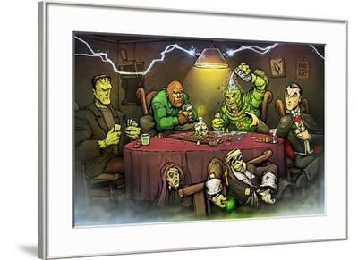 Monsters Playing Poker-Big Chris Art-Framed Art Print
