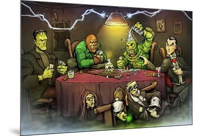 Monsters Playing Poker-Big Chris Art-Mounted Art Print