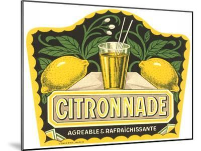 Citronnade Lemon Drink Label-Found Image Press-Mounted Art Print