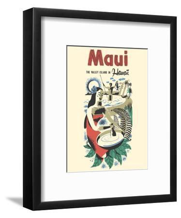 Maui - The Valley Island in Hawaii - Hawaiian Poi Pounder-Pacifica Island Art-Framed Art Print