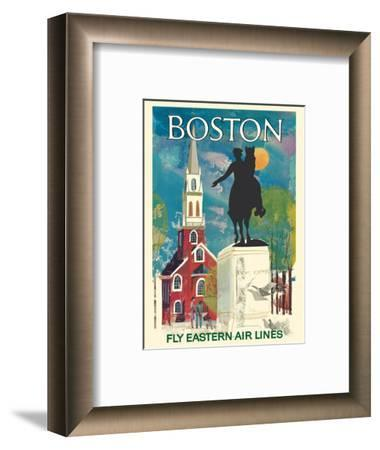 Boston, Massachusetts - Fly Eastern Air Lines - Paul Revere Statue and Old North Church-Pacifica Island Art-Framed Art Print