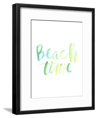 Watercolor Beach Time Typography-Jetty Printables-Framed Art Print