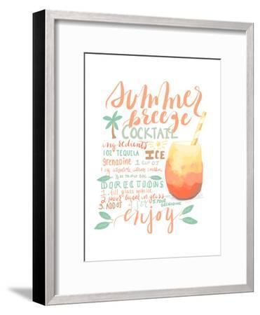 Summer Breeze Cocktail Recipe-Jetty Printables-Framed Art Print