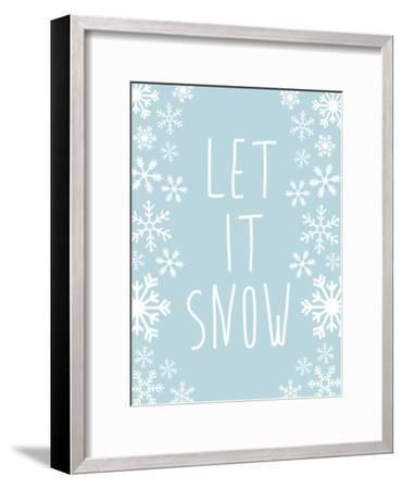 Light Blue Let It Snow-Jetty Printables-Framed Art Print