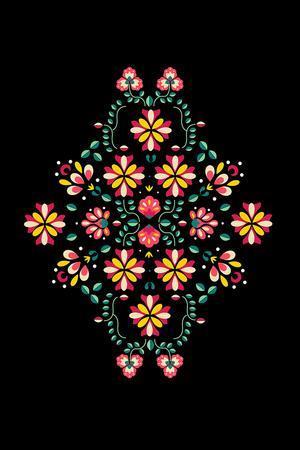 Folk Flowers I-Myriam Tebbakha-Framed Giclee Print
