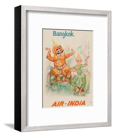 Bangkok, Thailand - Air India - Maharaja with Thai Classical Khon Dancer-Unknown-Framed Art Print