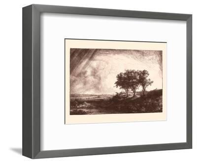 The Three Trees-Rembrandt van Rijn-Framed Art Print