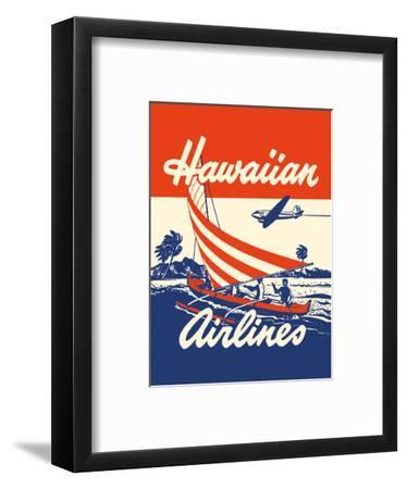 Hawaiian Airlines - Hawaiians in Outrigger Canoe (Wa�a)-Unknown-Framed Art Print
