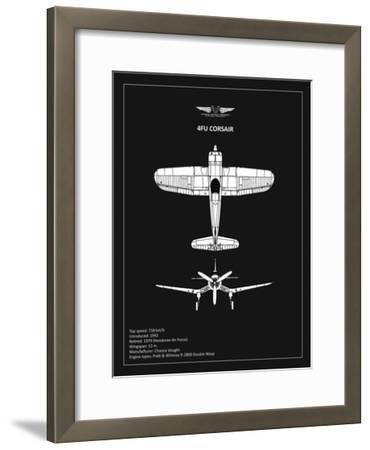 BP CV F4U-Corsair Black-Mark Rogan-Framed Giclee Print