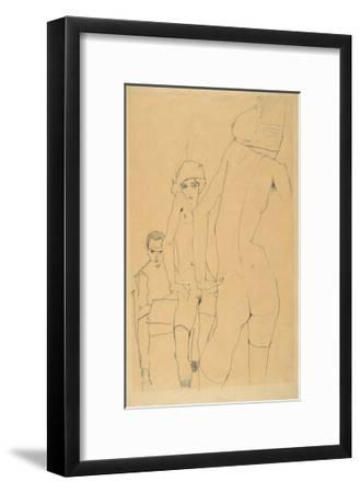 Schiele, Drawing a Nude Model before a Mirror, 1910-Egon Schiele-Framed Premium Giclee Print