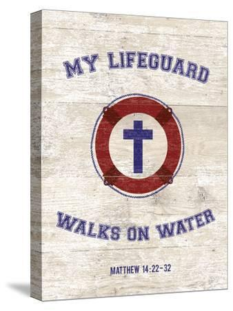 My Lifeguard Walks - Nautical-The Vintage Collection-Stretched Canvas Print