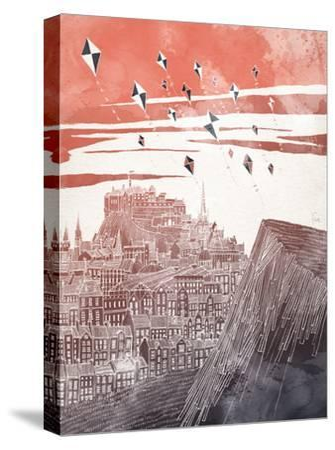Kites At Dusk-David Fleck-Stretched Canvas Print