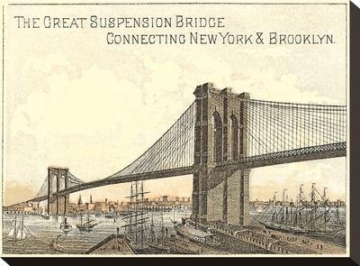 Brooklyn Bridge-Found Image Press-Stretched Canvas Print