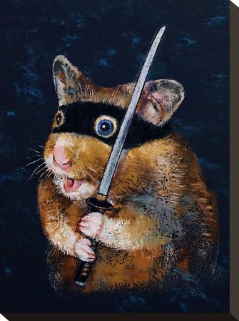Ninja Hamster-Michael Creese-Stretched Canvas Print