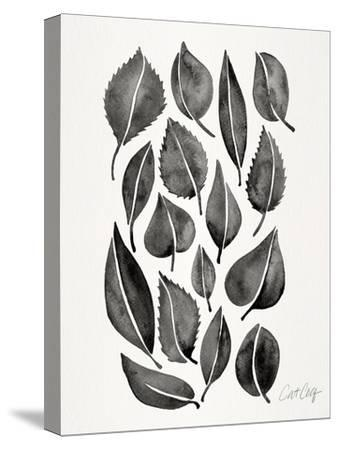 Black Fall Leaves-Cat Coquillette-Stretched Canvas Print
