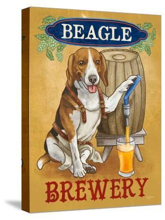 Beer Dogs IV-Wild Apple-Stretched Canvas Print