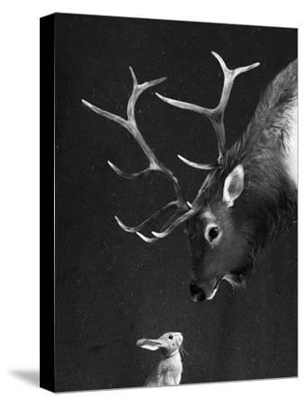 Elk&Rabbit-Laura Graves-Stretched Canvas Print