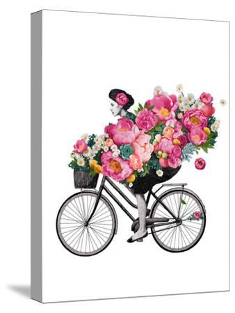 Floral Bicycle-Laura Graves-Stretched Canvas Print