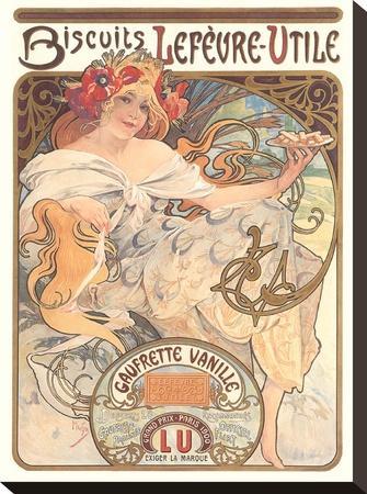 Art Nouveau Cookie Ad-Found Image Press-Stretched Canvas Print
