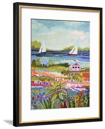 Two Sailboats and Cottage I-Karen  Fields-Framed Art Print