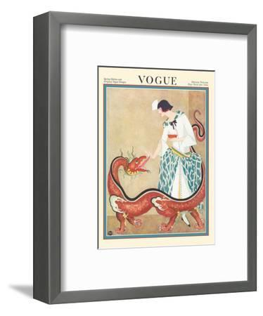 Vogue Magazine - February 1923 - Woman Feeding a Chinese Dragon-George Wolfe Plank-Framed Art Print