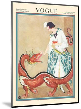 Vogue Magazine - February 1923 - Woman Feeding a Chinese Dragon-George Wolfe Plank-Mounted Art Print