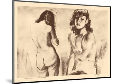 Nude Studies for Etchings - from Etchings and Drawings of Hawaiians-John Melville Kelly-Mounted Art Print