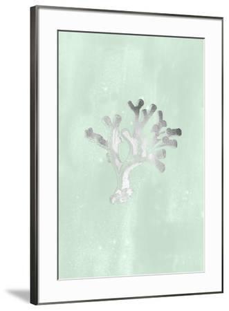 Silver Foil Coral II on Seafoam Wash-Vision Studio-Framed Art Print