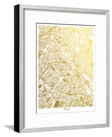 Paris New-The Gold Foil Map Company-Framed Art Print
