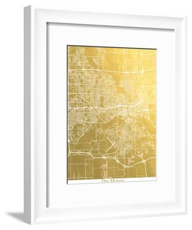 Des Moines-The Gold Foil Map Company-Framed Art Print