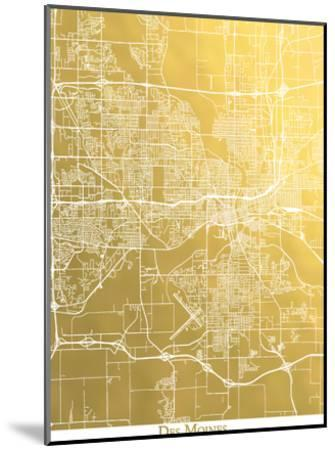 Des Moines-The Gold Foil Map Company-Mounted Art Print