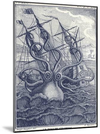Marine Kraken-Coastal Print & Design-Mounted Art Print