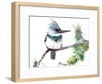 Belted Kingfisher 2-Suren Nersisyan-Framed Art Print