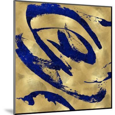 Feisty Blue on Gold-Jordan Davila-Mounted Giclee Print