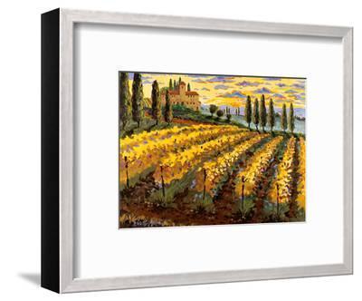 Sunset on the Vineyard - Italy - Italian Villa, Vineyards, Cypress Trees-Robin Wethe Altman-Framed Art Print