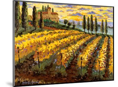 Sunset on the Vineyard - Italy - Italian Villa, Vineyards, Cypress Trees-Robin Wethe Altman-Mounted Art Print
